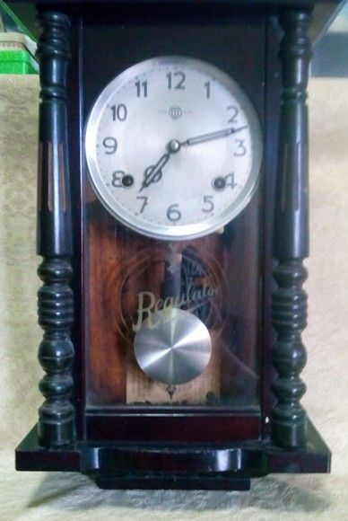 Antique Japanese wind up wall clock. Made during occupied Japan ...