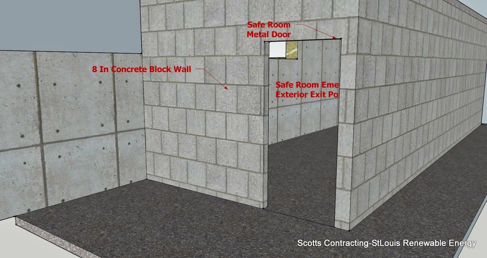 Safe room cmu basement steel door location alternate for Safe room builders