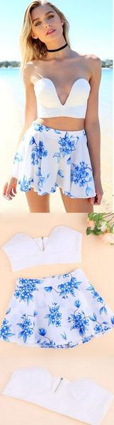 Two Pieces Floral CropTop & Shorts Stylish Ladies Women Two Pieces Strapless Padded Backless Solid Slim Crop Top And Print Casual Shorts Culottes