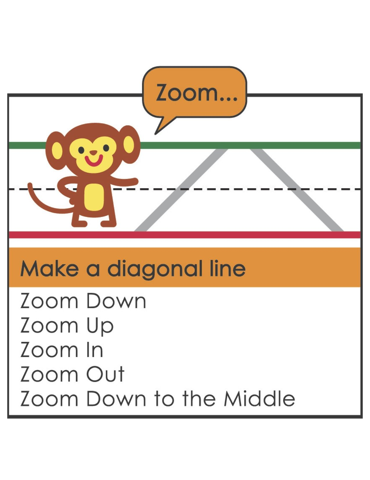 Zoom Teaches Children To Make A Diagonal Line When Using
