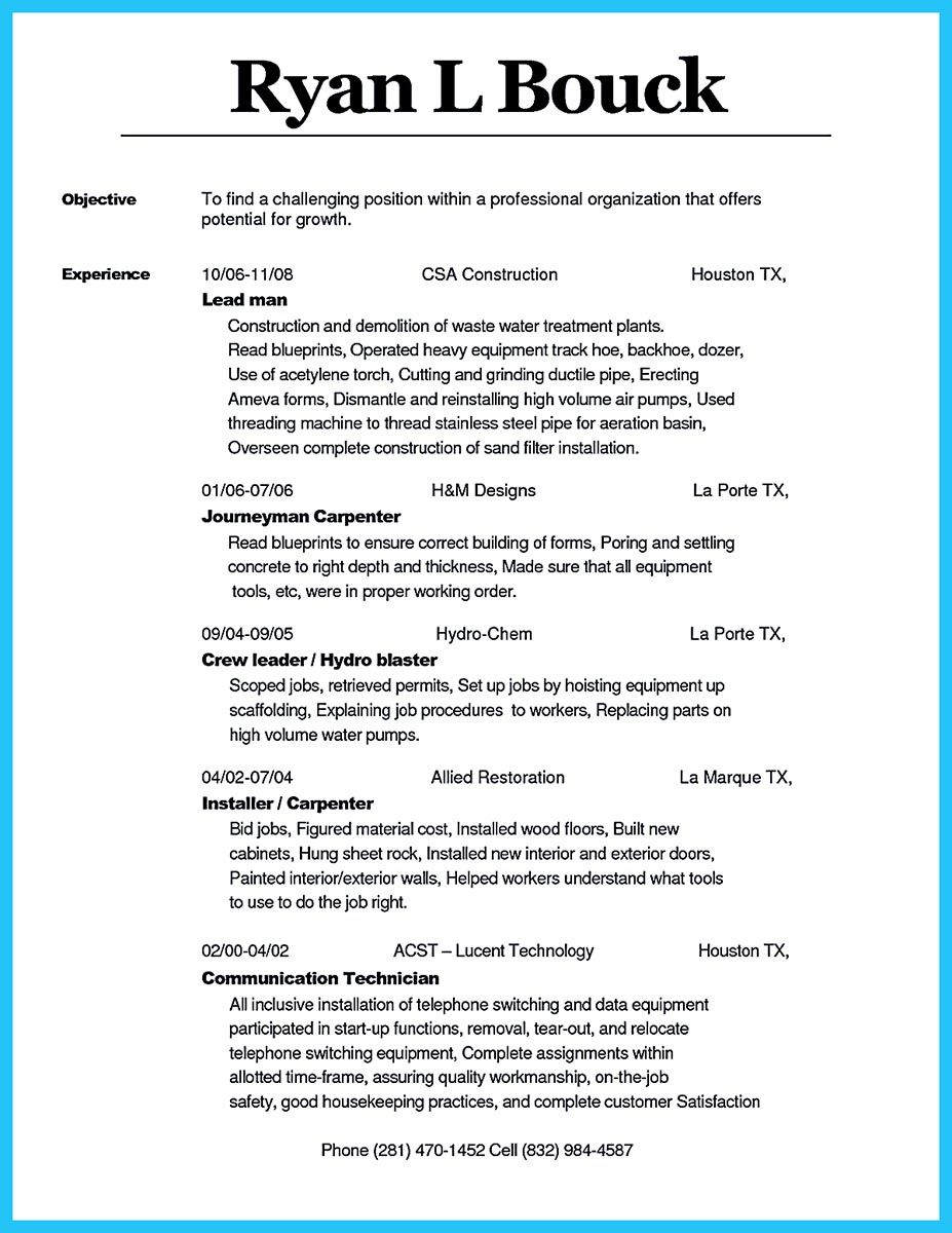 Concrete Form Carpenter Cover Letter Pin Di Resume Sample Template And Format Cover Letter For Resume
