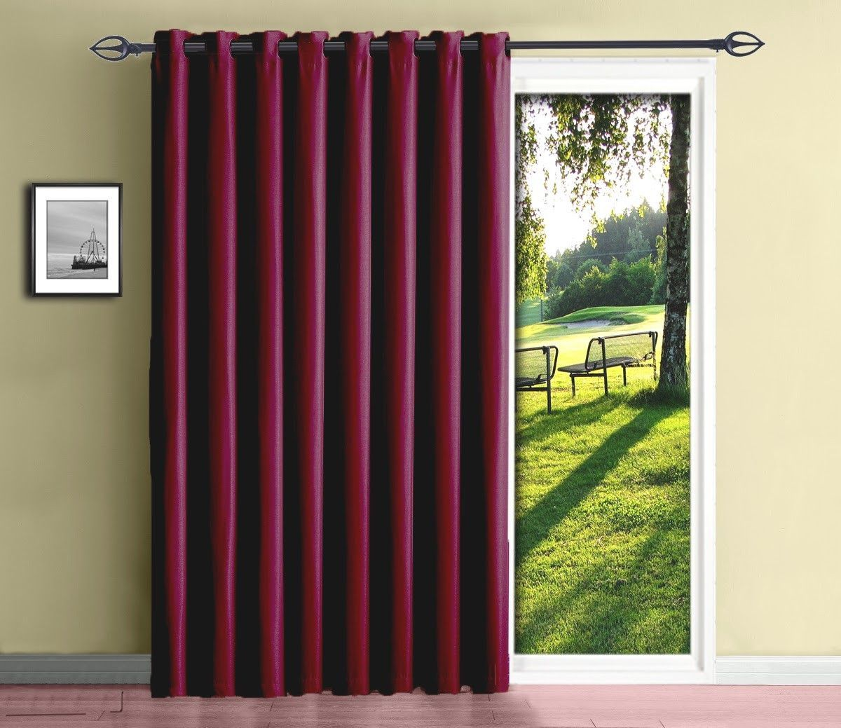 Warm Home Designs Extra Wide Blackout 102 Black Patio Door Curtains