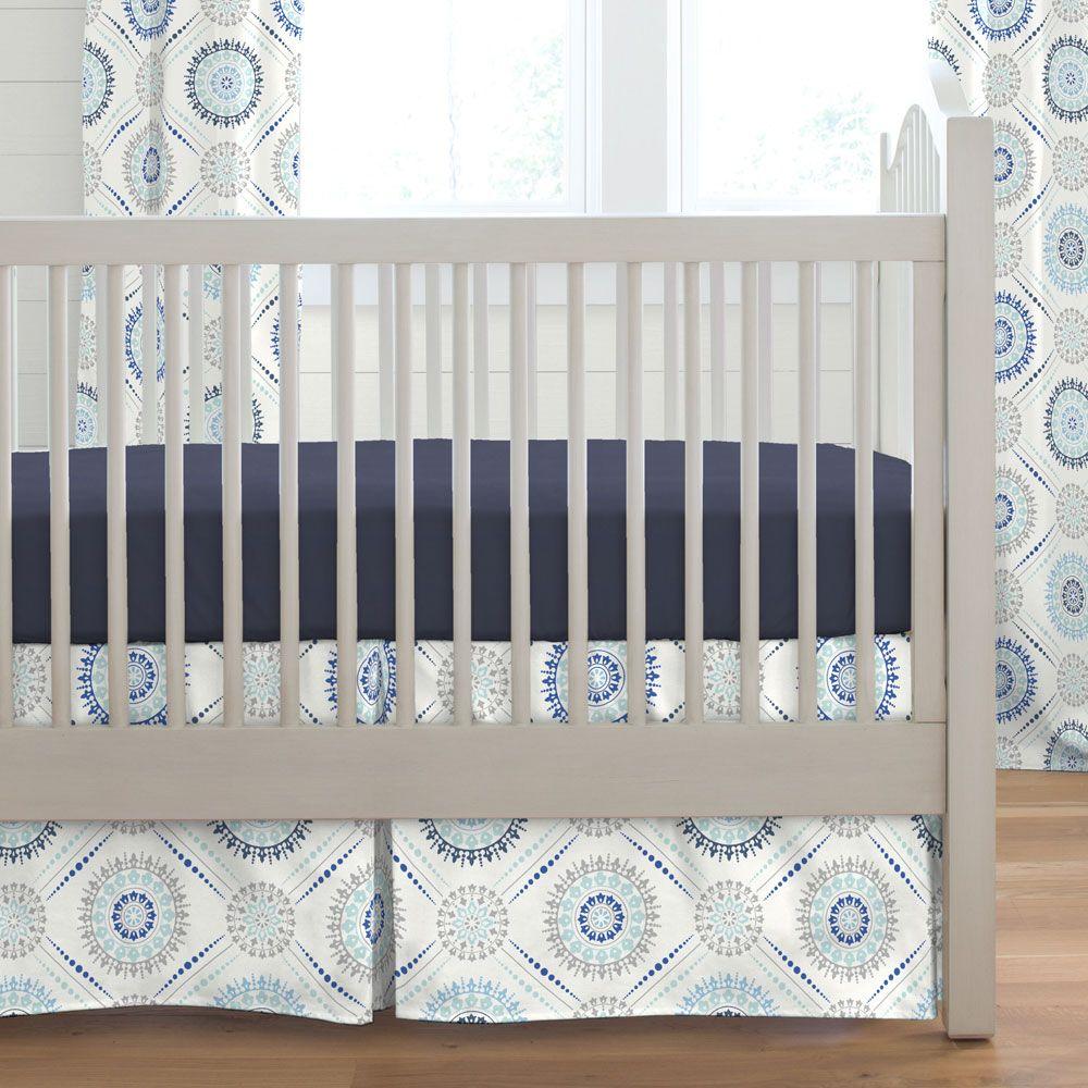 Denim And Silver Gray Modern Medallion Crib Skirt Box Pleat In 2020 Modern Crib Bedding Modern Crib Couch Design Modern