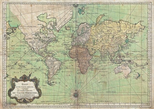 MP Vintage Historical Nautical Chart World Map Poster RePrint - A1 world map poster
