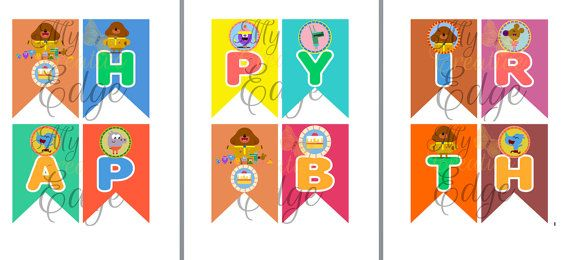 Personalised Happy Birthday Flag Banner - Hey Duggee Flag banners