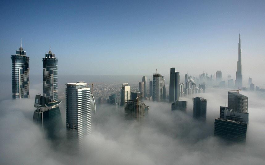 Morning Fog Dubai Dubai Skyscraper Skyscraper Dubai