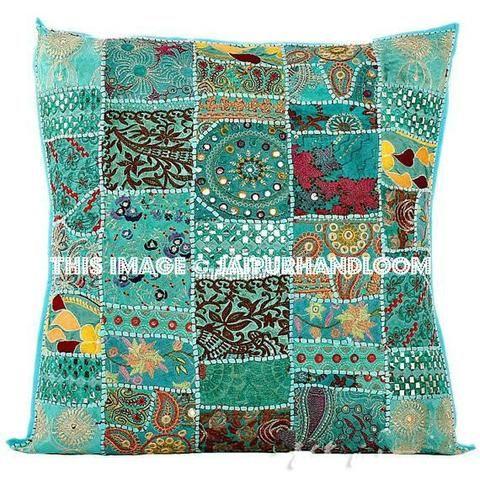 24 Extra Large Turquoise Throw Pillows Decorative Sofa Cushion Covers Jaipur Handloom