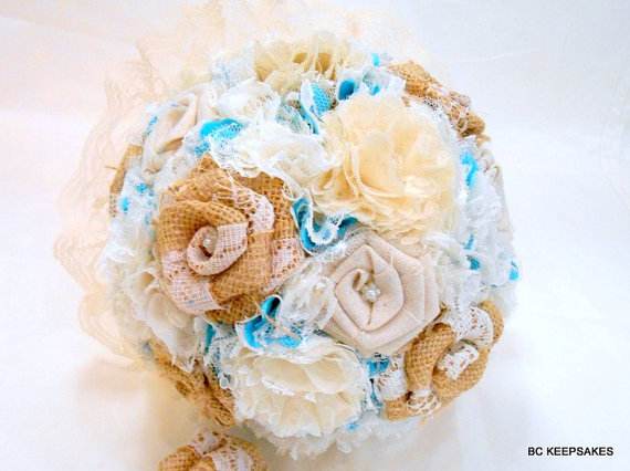 Shabby Chic Burlap Lace and Turquoise Fabric Wedding Bouquet by bouquetsbykeepsakes. Explore more products on http://bouquetsbykeepsakes.etsy.com