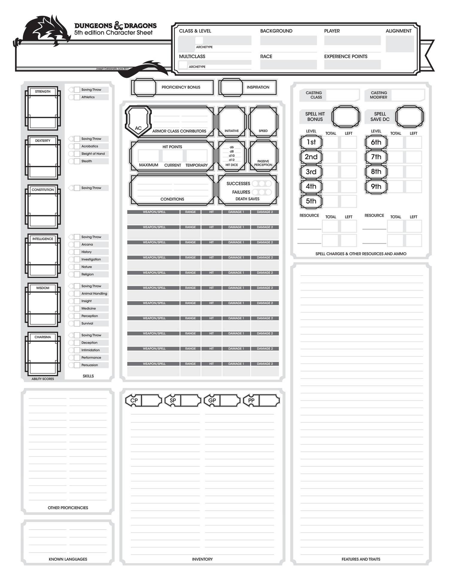 More Blocky And Ornate But Same Basic Setup Character Sheet Rpg Character Sheet Dnd Character Sheet