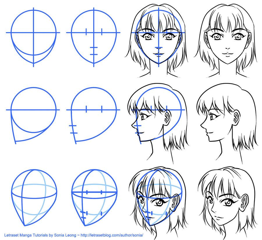 Letraset Manga Tutorials - basic face views by *sonialeong on ...