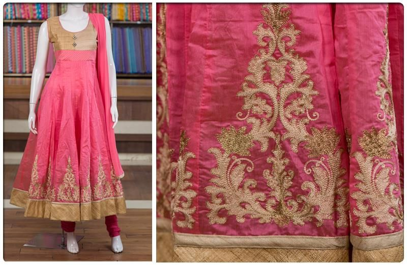 Readymade chudidars are always best sellers at Pothys as they top the charts in looks and ease of use. This piece in baby pink and cream with matching thread embroidery is a smart anarkali in cotton, popular with all age groups.
