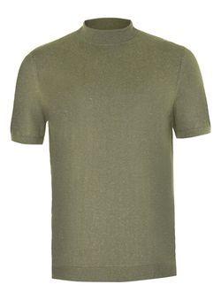 Khaki Linen Mix Mini Roll Neck Knitted T-Shirt