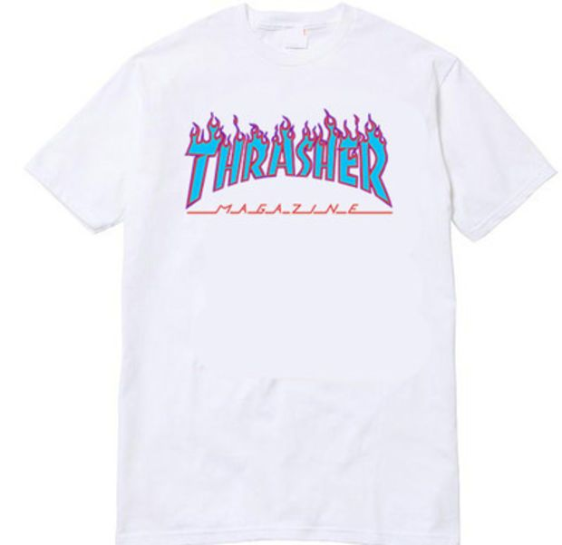 Thrasher Magazine Purple Flame Logo White & Light Blue T-Shirt