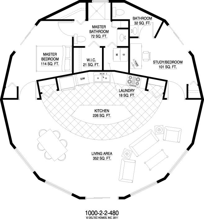 Deltec homes 1 story 1000 sq ft Round house plans floor plans