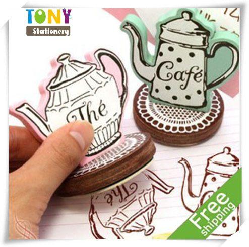 12pcs/lot Free Shipping Creative Coffee Pot Stamp -  Aliexpress.com