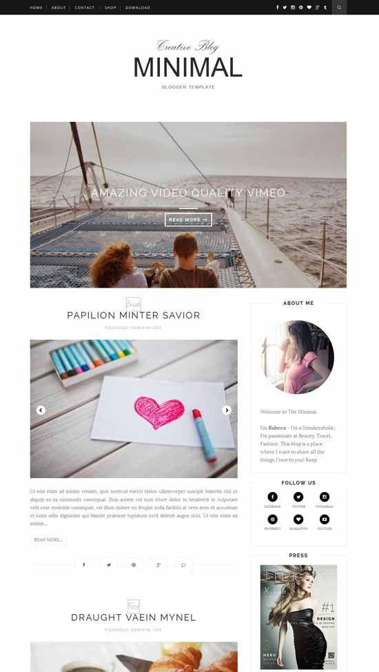 Minimal-Free-Responsive-Blogger-Template | 管理 | Pinterest ...