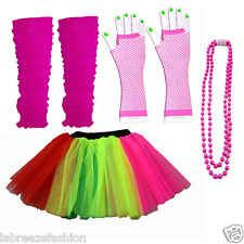 9f356e6a7a NEON UV FANCY DRESS HEN PARTY COSTUME 8 TUTU GLOVES LEG WARMERS AND BEADS  1980S