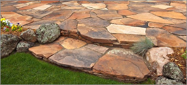 southwestern front patio ideas | ... landscaping | custom steps ... - Flagstone Patio Designs