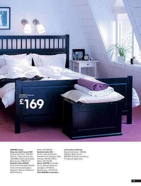hemnes bedroom, black bed, light bedding and white side table Bedroom Pinterest HEMNES