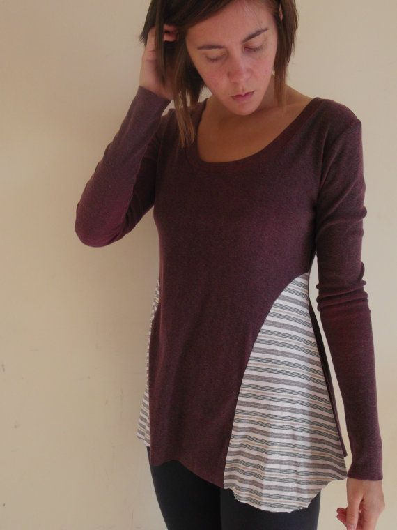 XS/S purple striped upcycled long sleeved top  by heidiandseek, $54.00 - possible inspiration for upsize??