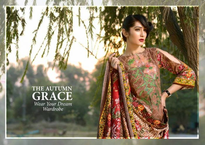 6aa50bce09 Johra Rose Print Embroidered Khaddar Collection 2018   Eastern ...