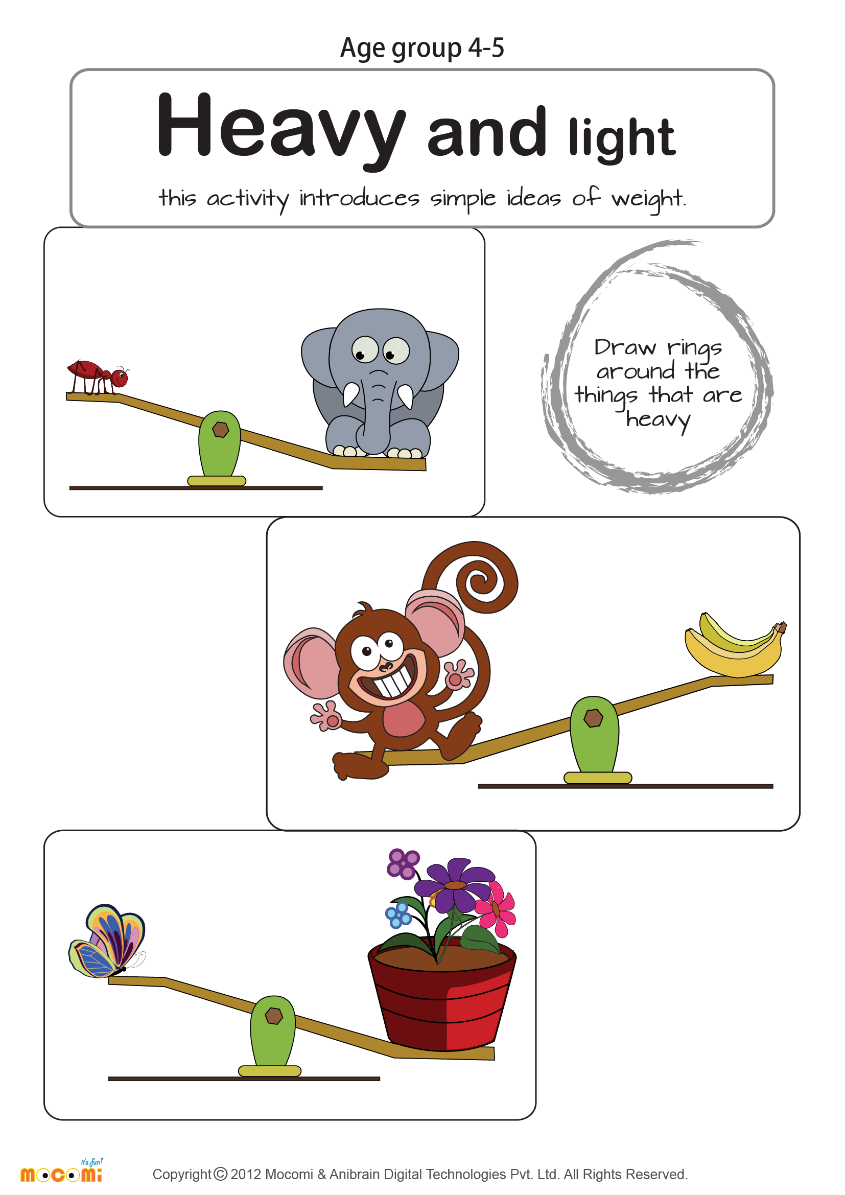 Weight Heavy or Light Math Worksheet for Kids For more – Early Maths Worksheets