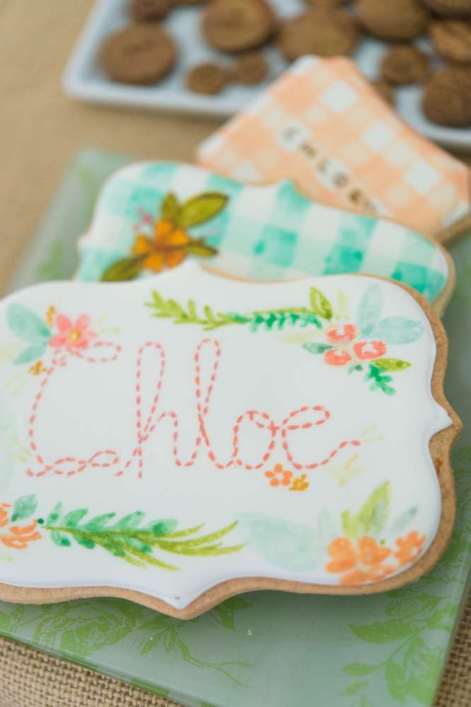 Hand painted cookies at a Peter Rabbit birthday party! See more party planning ideas at CatchMyParty.com!