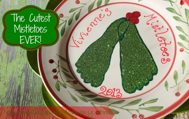 Footprint Mistletoes - how cute are these from MommaliciousMommy!  Easy and inexpensive!!!! #mistletoesfootprintcraft