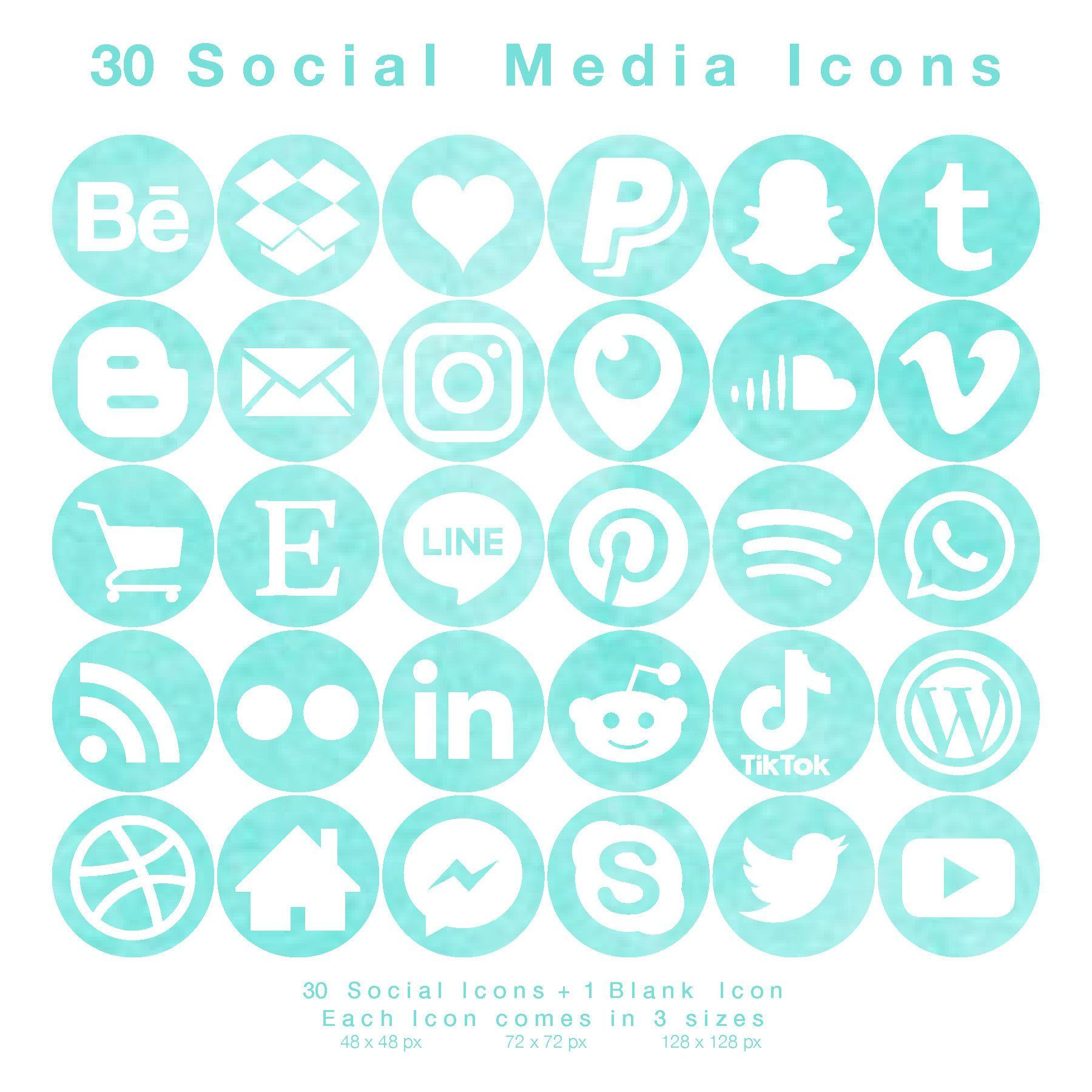 30 Social Media Icons White on Turquoise Watercolour