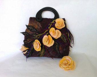 Handmade Bag.Felt.Art purse.Art Bags.Felted Bag.Handbag.Big Bag.Big Tote.Wool Bag.Flower Bag.Large tote bag.Orange. Autumn.
