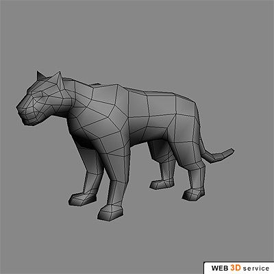 Low poly tiger 3D model - click to buy | modeling | Low poly