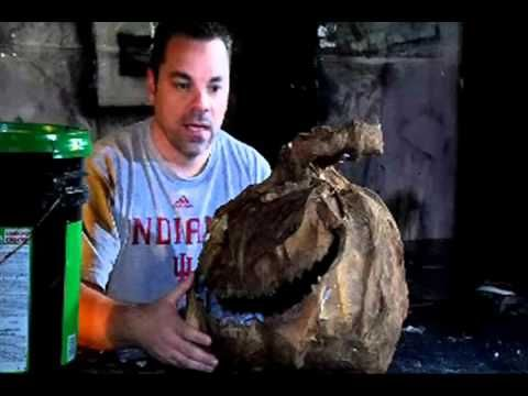 Sculpting with paper clay -- Part 6 of 8 - Paper Mache Pumpkin Head How-to - YouTube
