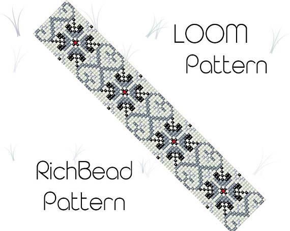 Loom pattern for bracelet Beading pattern Seed bead cuff
