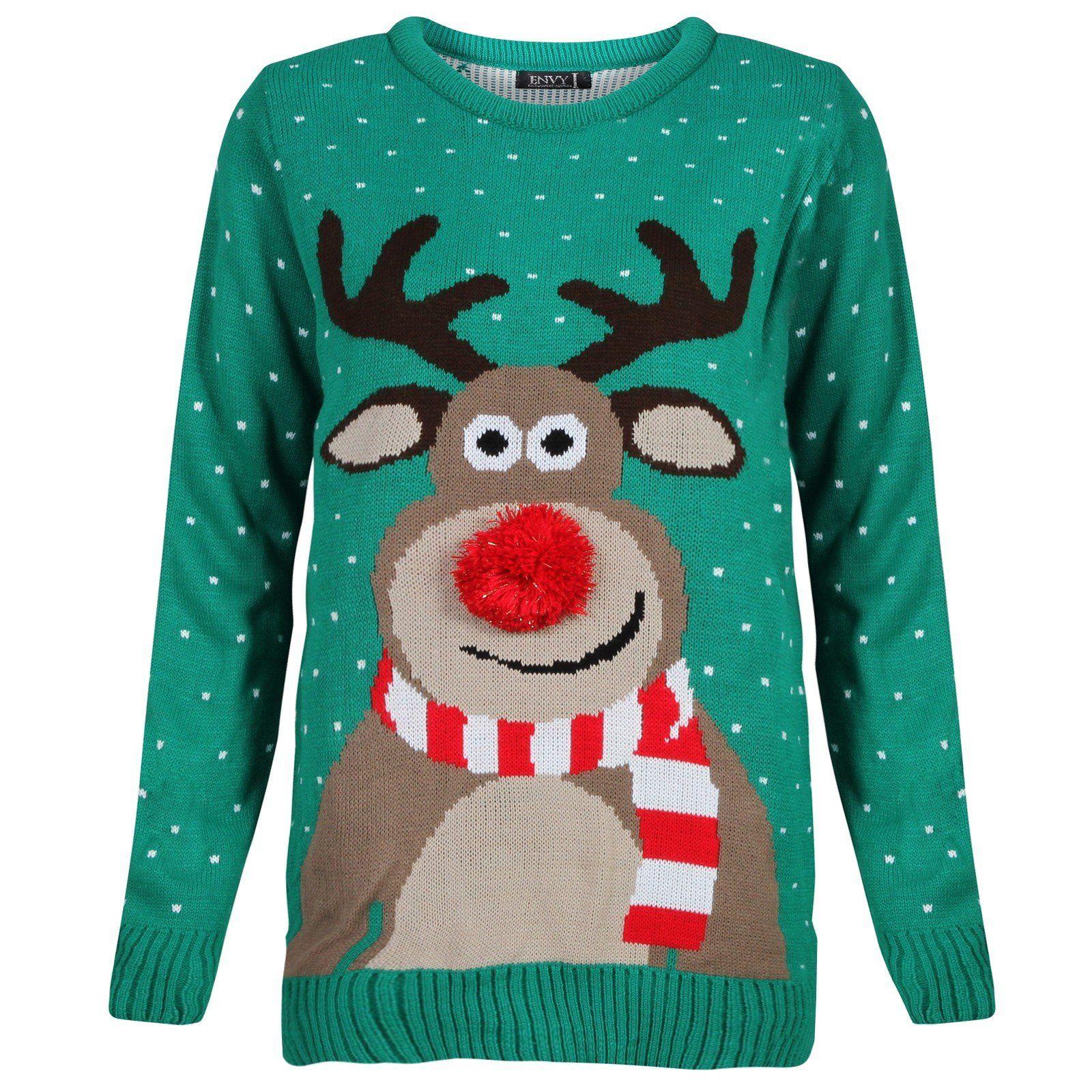 Mens Ladies Novelty Jumper Sweater Retro Christmas Xmas Rudolph ...