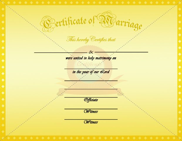 Marriage Certificate Yellow Template  Marriage Certificate