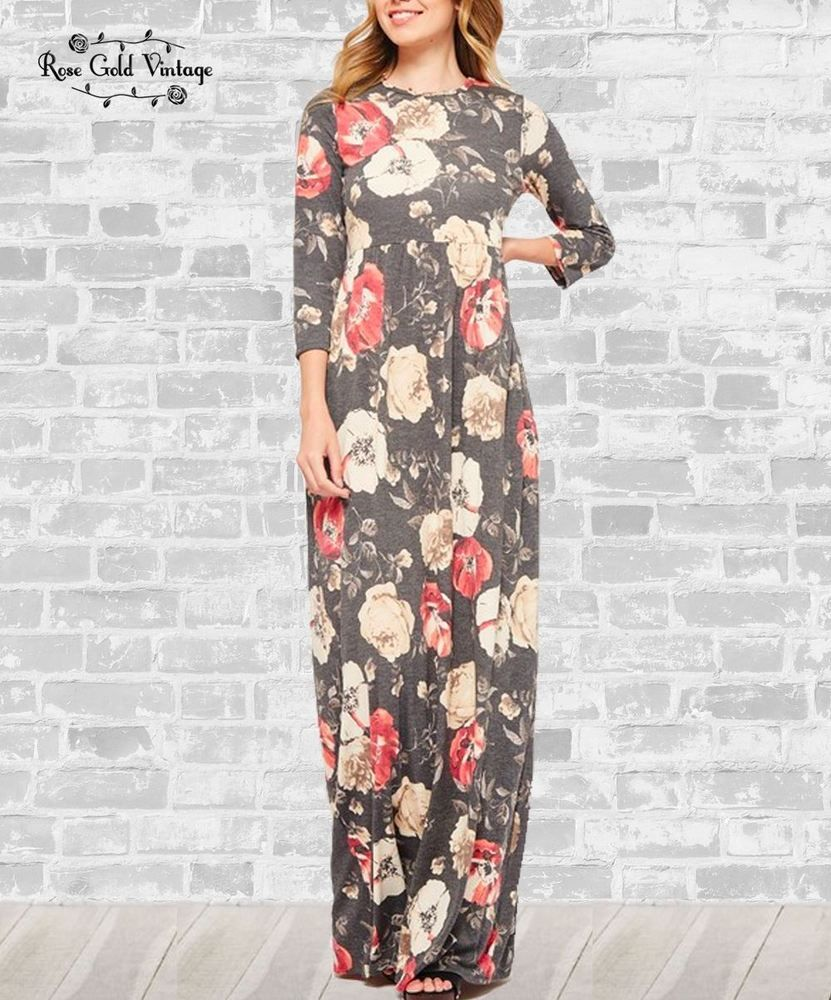 3 4 Sleeve Floral Pocket Maxi Dress Charcoal Fashion Clothing Shoes Accessories Womensclothing Dresses Ad Ebay Lin Maxi Dress Dresses Long Maxi Dress [ 1000 x 831 Pixel ]