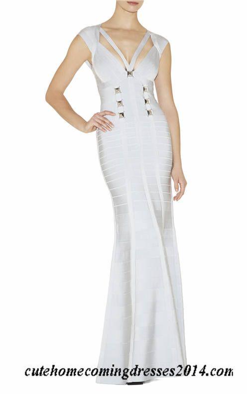 Herve Leger Pale Blue Metal Bandage Long Evening Dresses | heve ...