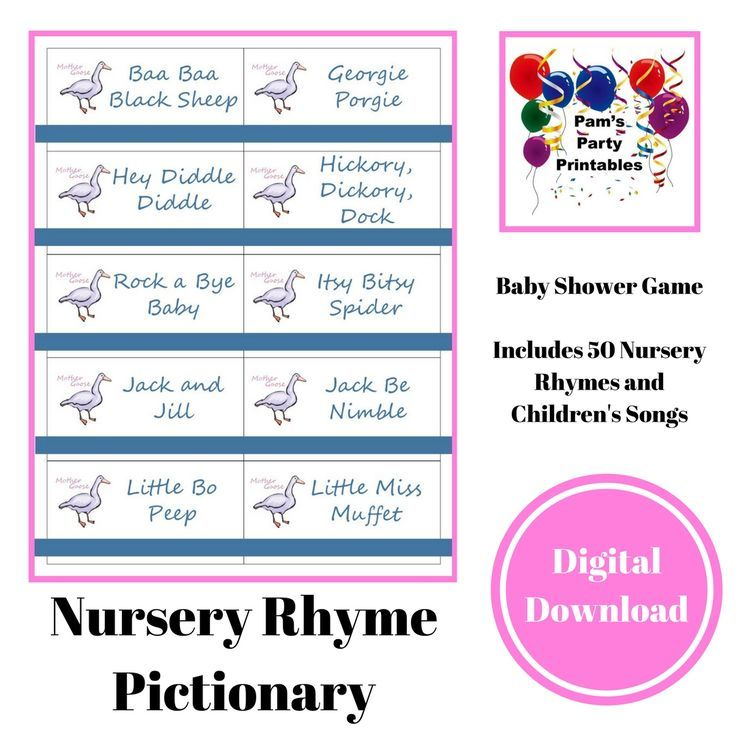 Printable Nursery Rhymes/Childrenu0027s Songs Game Cards For Pictionary Or  Charades   Baby Shower Game