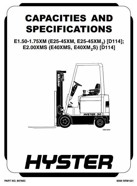 original illustrated factory workshop manual for hyster electric forklift  truck type d114 original factory manuals for hyster forclift trucks,  contains high