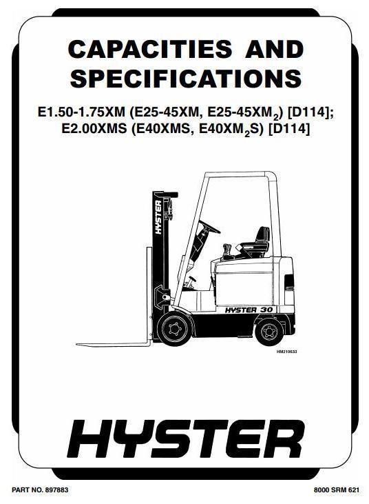 hyster truck type d114 e25xm e30xm e35xm e40xms e1 50xm e1 rh pinterest com Manual E50xm-27 4200 Lb Electric Forklift hyster electric forklift service manual