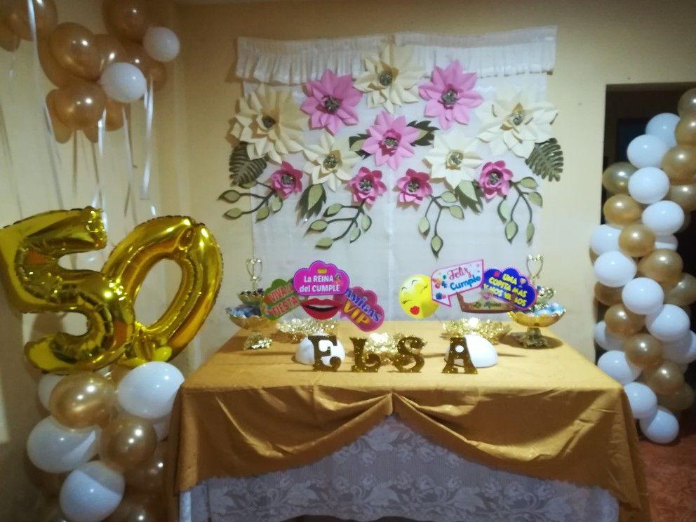decoraci n hecha para fiesta de 50 a os a base de flores