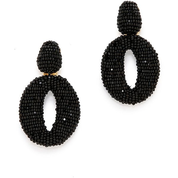 Oscar de la Renta Classic Oscar O Earrings featuring polyvore, women's fashion, jewelry, earrings, jewels, oscar de la renta, black earring, black, earring jewelry, oscar de la renta earrings, oscar de la renta jewelry, bead jewellery and beaded jewelry