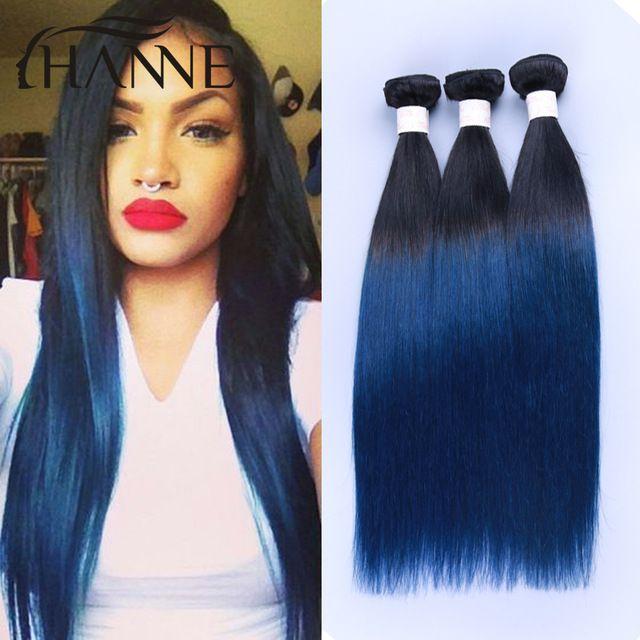 Online Shop Straight Peruvian Dark Roots Blue Human Hair 4 Bundles