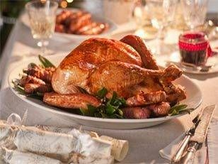 Roast turkey with pistachio and raisin stuffing:  This success story is a combined effort: tender turkey cooked on a bed of celery and garlic teamed with exceptional sides and magic relish.