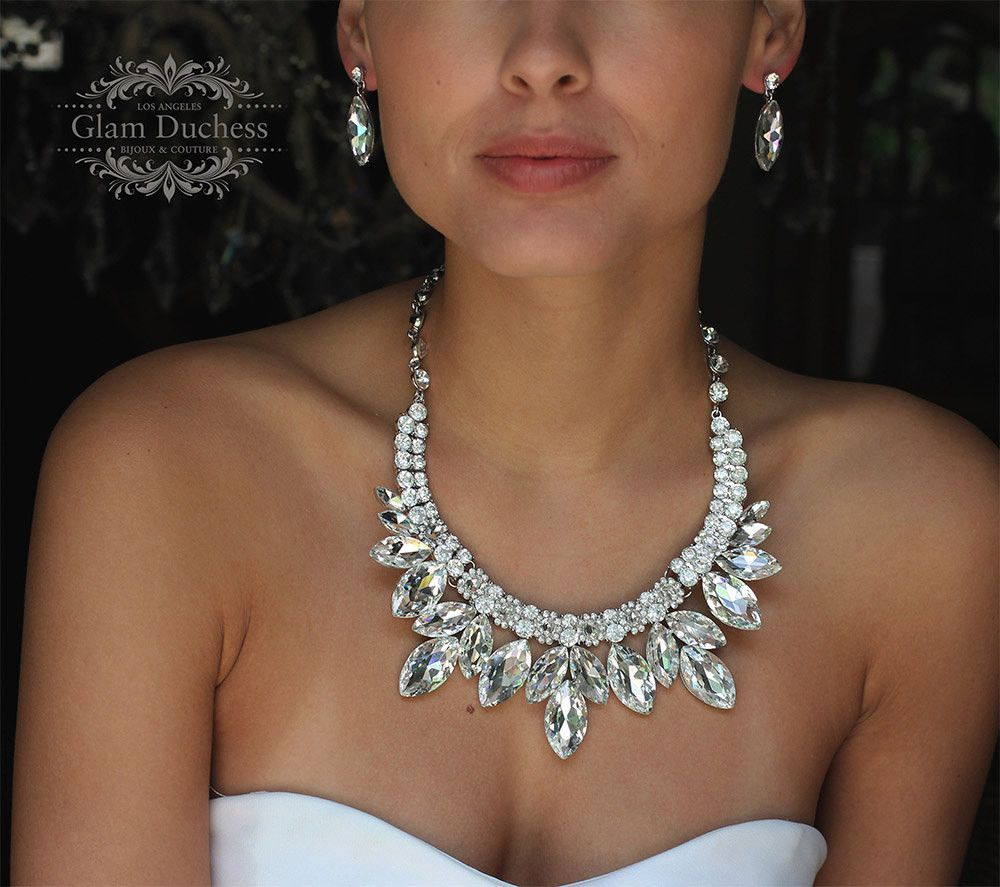 wedding jewelry set, Bridal jewelry set, Bridal backdrop bib Marquise Crystal necklace earrings, bridal necklace statement, Ballroom jewelry