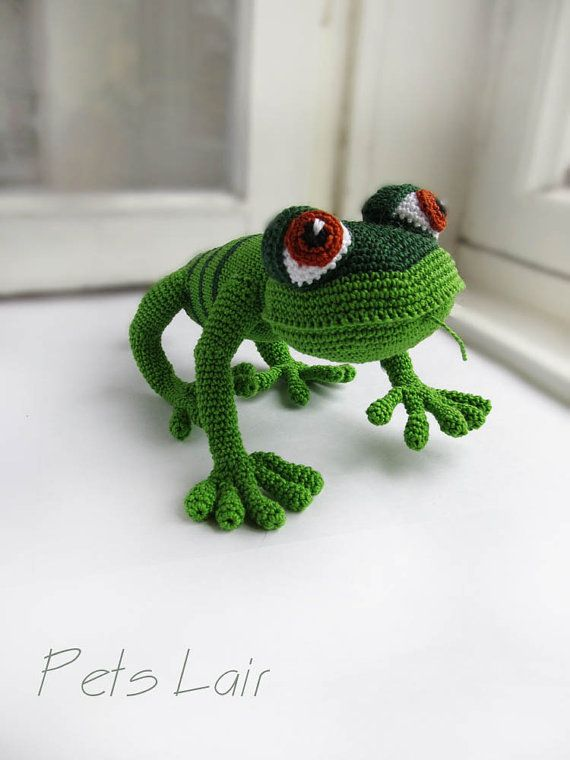 Crochet lagarto verde, divertido juguete, juguete de peluche, regalo ...