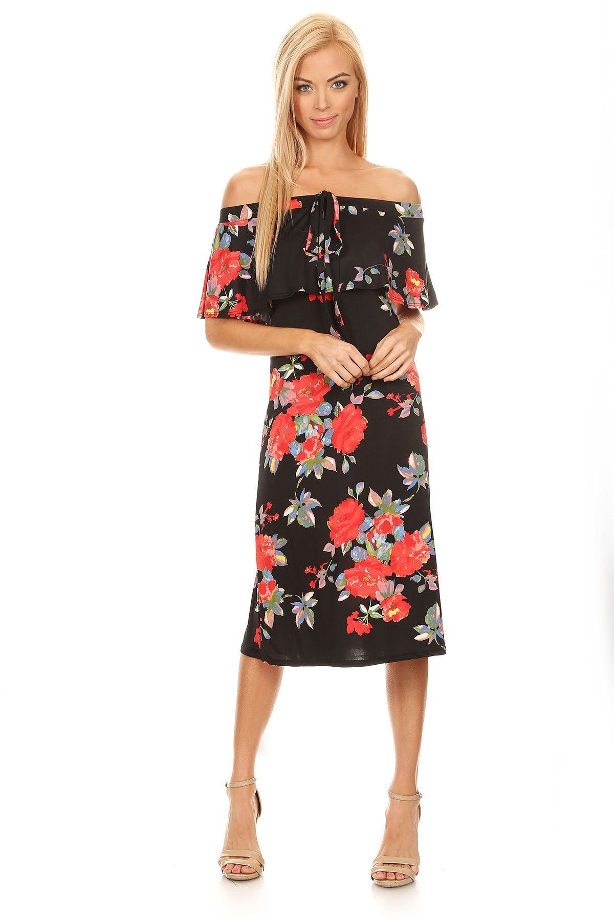 a0f5657450 New Arrival from our Spring Summer Collection Floral printed off shoulder  A-line dress with layered detail and elastic neckline with drawstring  accent.