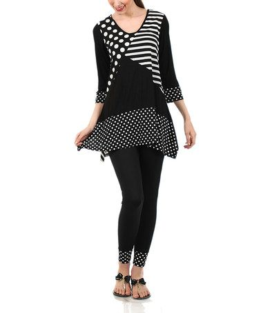 Loving this Black & White Stripe Scoop Neck Tunic & Skinny Pants - Plus on #zulily! #zulilyfinds
