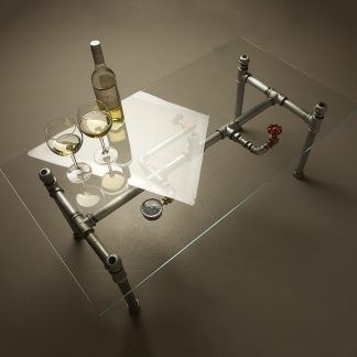 Photo of Small Glass Plumbing Pipe Coffee Table
