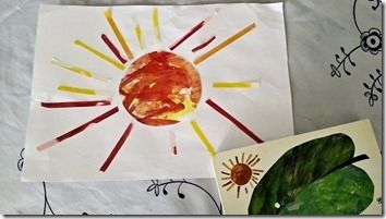 Drawing Straight Lines With Brush In Photo : Art pre writing: the sun from very hungry caterpillar drew so